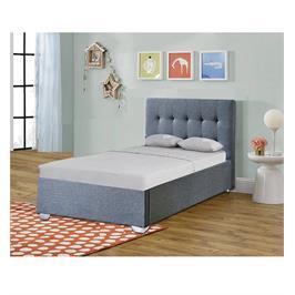 מיטת יחיד מרופדת בד עם ארגז מצעים מעץ מבית HOME DECOR דגם נועם 90