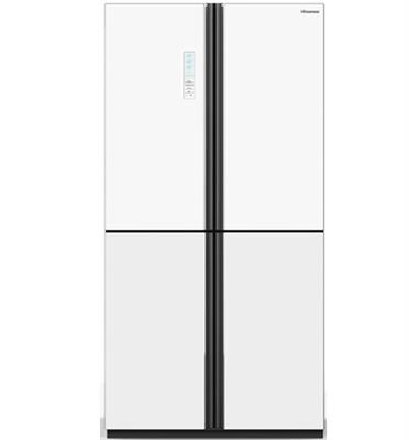 מקרר 4 דלתות מקפיא תחתון 648 ליטר זכוכית לבנה Multi Air Flow תוצרת Hisense דגם RQ82WGKI