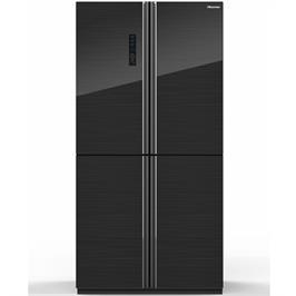 מקרר 4 דלתות מקפיא תחתון 648 ליטר זכוכית שחורה Multi Air Flow תוצרת Hisense דגם RQ82BGKI