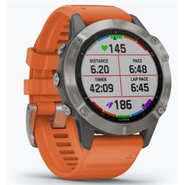 שעון הספורט המתקדם ביותר בעולם עם מגוון פעולות מבית GARMIN דגם Fenix 6 Titanium / Orange