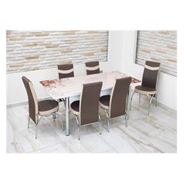 """פינת אוכל מזכוכית נפתחת עד 170 ס""""מ בעיצוב מרהיב עם 4 כסאות תואמים מבית Or Design דגם חום פרחוני"""
