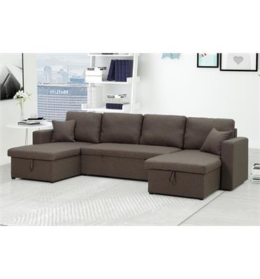 מערכת ישיבה בעלת פינה כפולה נפתחת למיטה + 2 ארגזי מצעים מבית DIVANI דגם ליברטי