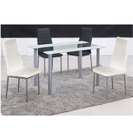 פינת אוכל מזכוכית כולל 4 כסאות מבית GAROX דגם ZEBRA WHITE