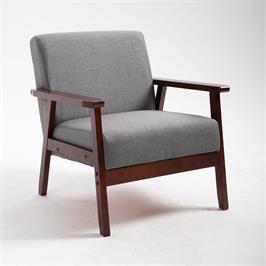 כורסא מעוצבת מבד עם ידיות מעץ מלא מבית BRADEX דגם GALIFE