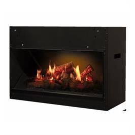 קמין מקרינה סרטון של אש חיה על גבי מסך LCD מבית Dimplex דגם OPTI-V single PGF10 תצוגה