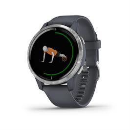 שעון כושר חכם עם תצוגת AMOLED בגודל 1.2 אינץ' מבית GARMIN דגם VENU Blue Granite/Silver SEU