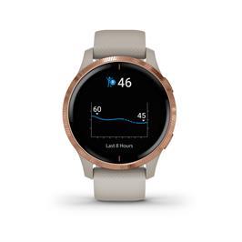 שעון כושר חכם עם תצוגת AMOLED בגודל 1.2 אינץ' מבית GARMIN דגם VENU Light Sand/Rose Gold EEU