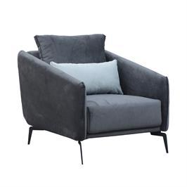 כורסא מעוצבת מרופדת בד רחיץ עם רגלי מתכת HOME DECOR דגם קלואי