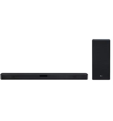 מקרן קול (סאונד בר) 2.1 ערוצים, 400 וואט, עיצוב דק בגימור שחור עם חיבור HDMI וסאב וופר אלחוטי LG דגם SL5Y