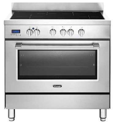 תנור משולב כיריים אינדוקציה 4 אזורי בישול בגדלים שונים 9 תוכניות לאפיה גימור נירוסטה תוצרת DELONGHI דגם NDSI1050