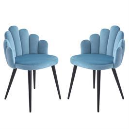 זוג כיסאות צדפה מעוצבים עם בד קטיפה ורגלי מתכת HOME DECOR דגם דייזי