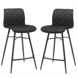 זוג כסאות בר בריפוד בד קטיפתי עם רגלי מתכת HOME DECOR דגם מנהטן משלוח חינם!
