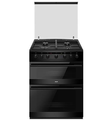 """תנור משולב דו תאי הלכתי 60 ס""""מ 4 להבות 7 תוכניות אפייה בגימור שחור תוצרת SAUTER דגם SDO730B"""