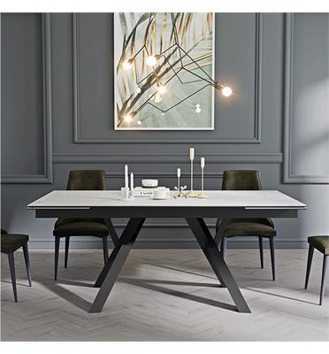 שולחן אוכל קרמיקה מפואר באורך 1.8 מ' נפתח ל- 2.6 מ' עם רגלי מתכת HOME DECOR דגם מדריד