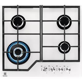 """כיריים גז זכוכית לבנה מחוסמת 60 ס""""מ 4 להבות תוצרת Electrolux דגם KGG6436W"""