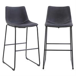 זוג כסאות בר עם רגלי מתכת HOME DECOR דגם אלבמה