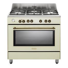 """תנור משולב כיריים 90 ס""""מ ובעיצוב וינטג' צבע וניל תוצרת DELONGHI דגם NDS952VN"""