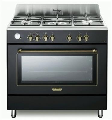 """תנור משולב כיריים 90 ס""""מ ובעיצוב וינטג' שחור פחם תוצרת DELONGHI דגם NDS952AN"""