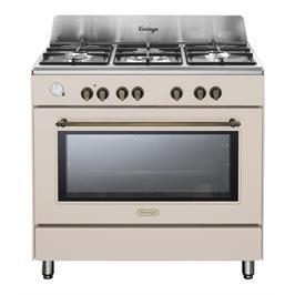 """תנור משולב כיריים 90 ס""""מ ובעיצוב וינטג' צבע אבן חול תוצרת DELONGHI דגם NDS952AV"""