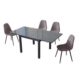 פינת אוכל נפתחת ל-1.8 מ' עם 4 כסאות מרופדים HOME DECOR דגם אורלנדו-כרמל
