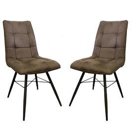זוג כסאות לפינת אוכל מרופדים בד רחיץ HOME DECOR דגם קרול