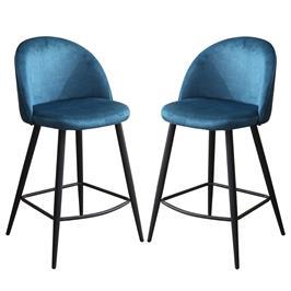 זוג כסאות בר מרופדים בד קטיפתי עם רגלי מתכת HOME DECOR דגם קפרי