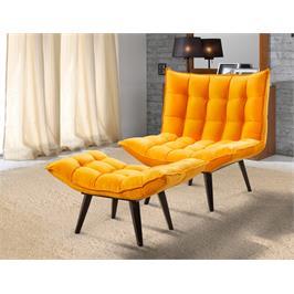 כורסא והדום העטופים בבד קטיפתי יוקרתי עבה ואיכותי, תוצרת LEONARDO דגם לילי כתום