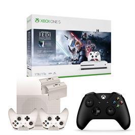 באנדל קונסולה XBOX ONE S 1TB עם שני שלטים, ערכת טעינה+מעמד ומשחק Star Wars Jedi Fallen order
