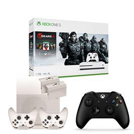 באנדל קונסולה XBOX ONE S 1TB עם שני שלטים , ערכת טעינה+מעמד ומשחק Gears Of War
