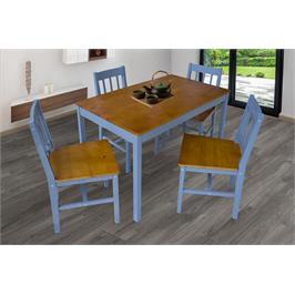 פינת אוכל שולחן ו-4 כסאות עץ מלא בצבע אלון מבוקע בשילוב צבע כחול ים מבית GAROX דגם MONICA
