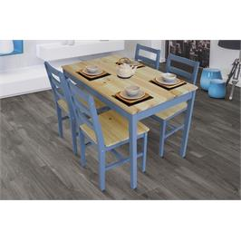 פינת אוכל מעץ מלא ו-4 כסאות בצבע עץ בשילוב צבע כחול ים מבית GAROX דגם LISA