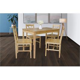פינת אוכל מעץ מלא ו 4 כסאות עץ מלא בצבע עץ טבעי דגם FIBI