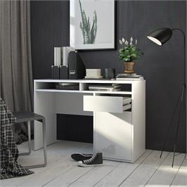 שולחן כתיבה לבן מבריק עם מגירה ותאי אחסון תוצרת דנמרק HOME DECOR דגם מירב