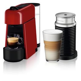 מכונת קפה NESPRESSO אסנזה פלוס בגוון אדום דגם D45 כולל מקציף חלב
