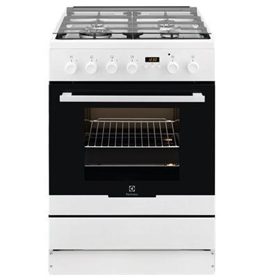 תנור משולב כיריים 62 ליטר 4 להבות גימור לבן תוצרת Electrolux דגם EKK64300OW