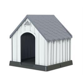 מלונה עם חלל פנימי מרווח ואידיאלי לכלבכם - גג אפור
