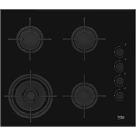 """כיריים 4 להבות 60 ס""""מ זכוכית שחורה תוצרת BEKO דגם HILW64120S"""