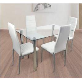 פינת אוכל בעיצוב מודרני הכוללת שולחן עשוי זכוכית מחוסמת וארבעה כיסאות תואמים Homax דגם סרג'י 4