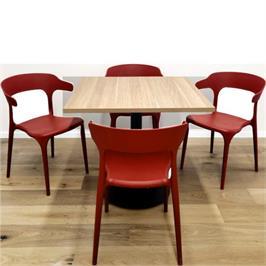 סט 4 כסאות דקורטיבים פנים+חוץ בתקן UV בורדו *התמונה להמחשה בלבד, לא כולל השולחן