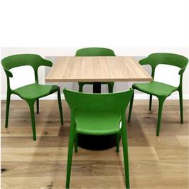 סט 4 כסאות דקורטיבים פנים+חוץ בתקן UV ירוק  *התמונה להמחשה בלבד, לא כולל השולחן