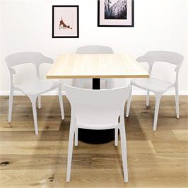 סט 4 כסאות דקורטיבים פנים+חוץ בתקן UV לבן *התמונה להמחשה בלבד, לא כולל השולחן