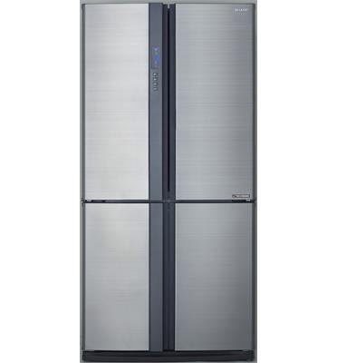 מקרר 4 דלתות בנפח 615 ליטר קירור היברידי הפעלה חיצונית גוון נירוסטה מבית SHARP דגם SJFE87VSL