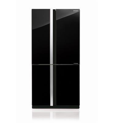 מקרר 4 דלתות בנפח 615 ליטר קירור היברידי גוון זכוכית שחורה תוצרת SHARP דגם SJFS87VBK