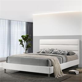 מיטת נוער רחבה ומעוצבת 120x190 בריפוד דמוי עור לבן HOME DECOR דגם דניס 120
