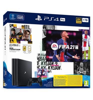 קונסולה פלייסטיישן PlayStation 4 PRO 1TB בקר אחד FIFA 21 דגם CUH-7216B-FUT21