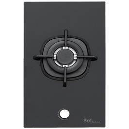 כיריים גז 1 מבער עם משטח זכוכית מחוסמת שחורה תוצרת SOL דגם F3GBCT-535