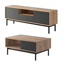 סט מזנון ושולחן מעוצבים בגימור מודרני תוצרת אירופה HOME DECOR דגם ספרינג
