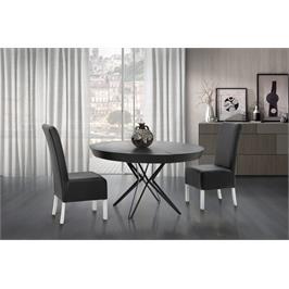 שולחן פינת אוכל עגול יוקרתי בגימור דמוי שיש אפור ורגלי ברזל שחור תוצרת LEONARDO דגם טופז