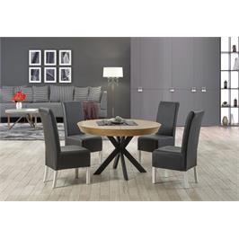 שולחן פינת אוכל עגול מפואר העשוי מעץ מלא עם רגלי ברזל  מגיע ב3 גדלים  נפתח עד ל- 2.30 מ' מסגרת חיצונית עם שיפוע - LEONARDO דגם גורמה