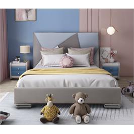 מיטת נוער רחבה ומעוצבת 120×190 בריפוד בד קטיפתי מבית HOME DECOR דגם ברק